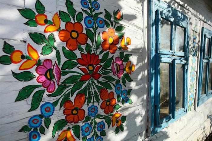 pueblo casa pintadas a mano