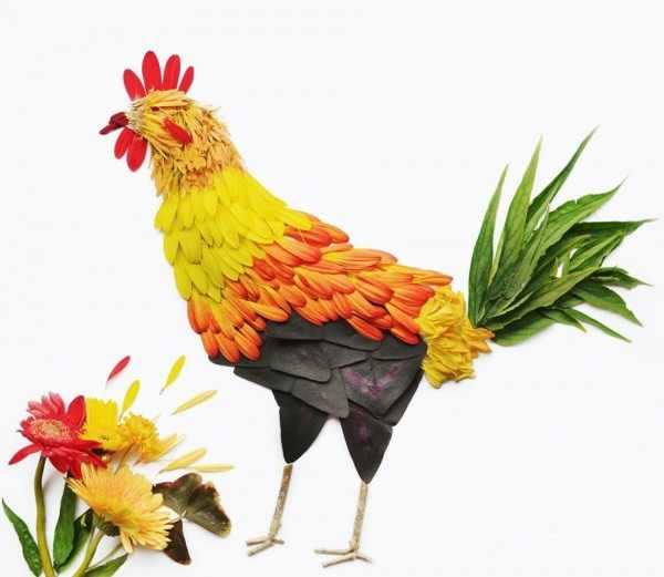 Pájaros con flores
