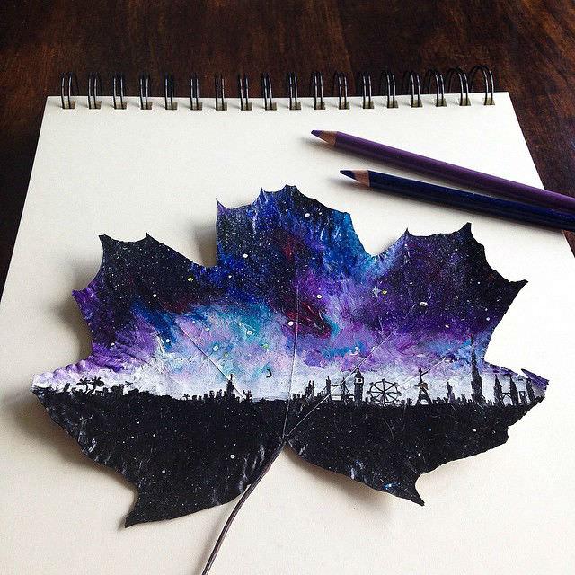 pinturas realizadas sobre hojas