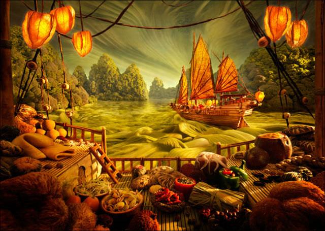 pinturas hechas de comida