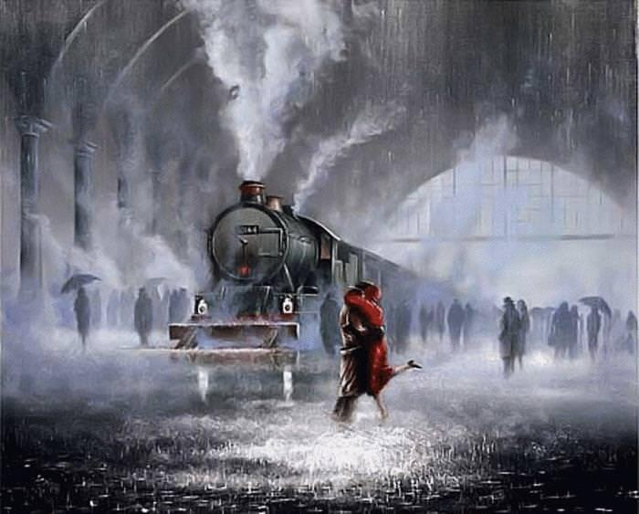 Estas Pinturas Capturan El Romance Bajo La Lluvia