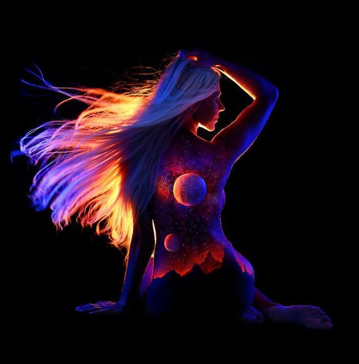Pintura corporal brillante