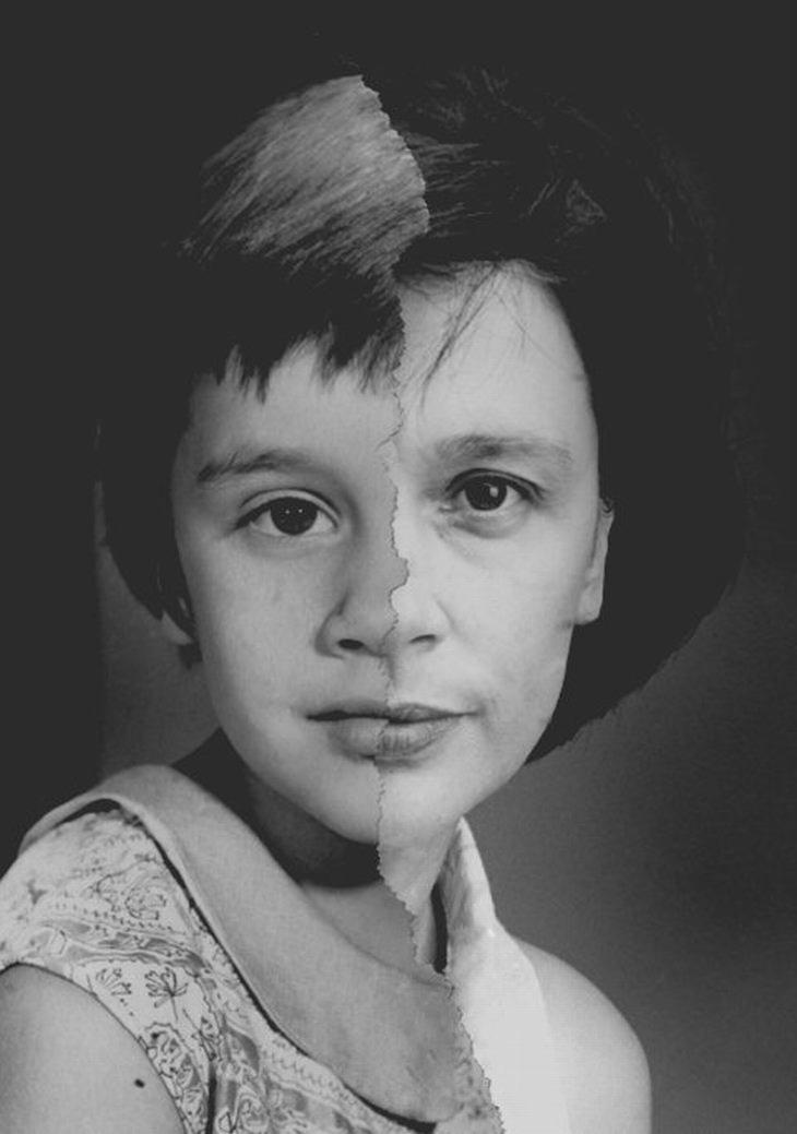 retratos con caras jóvenes y viejas