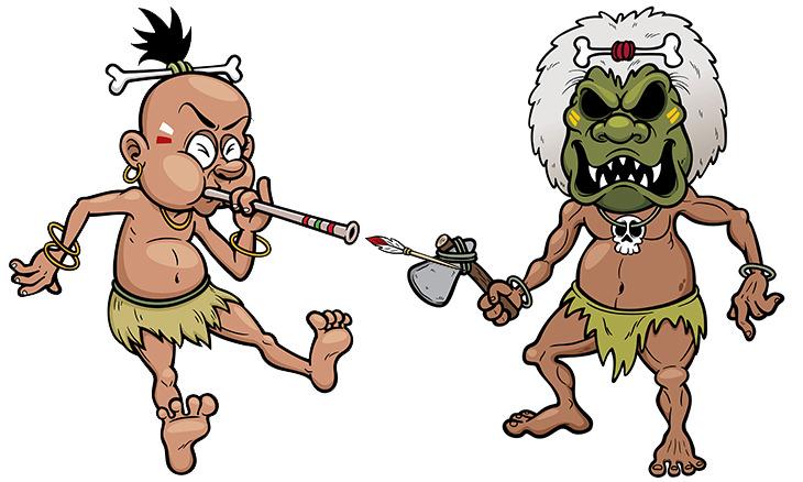 caníbales buscan comida en la jungla