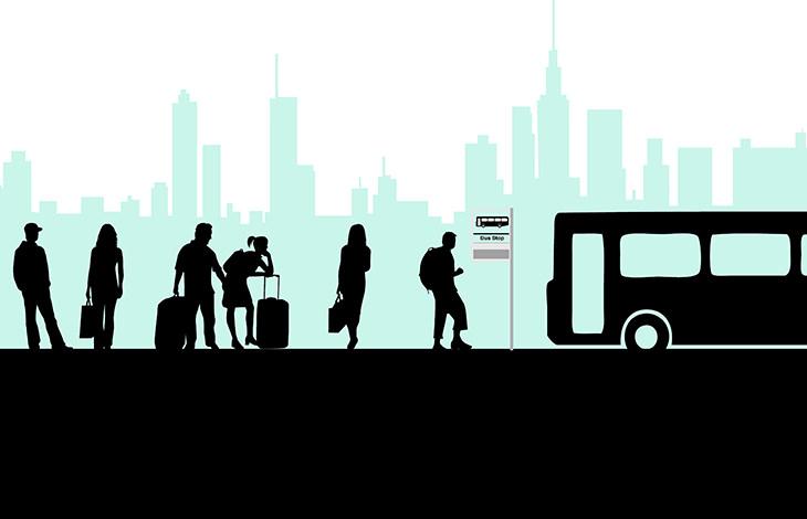 autobús y ciego