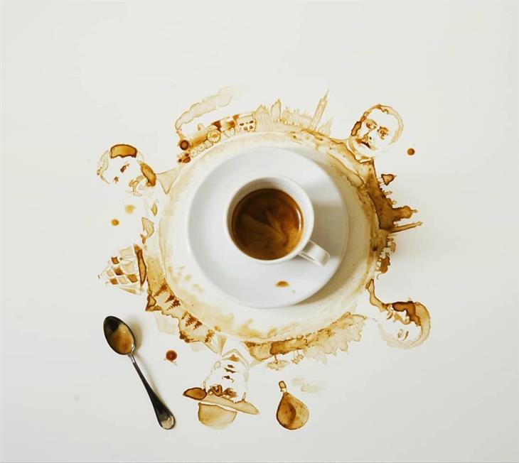 café derramado arte