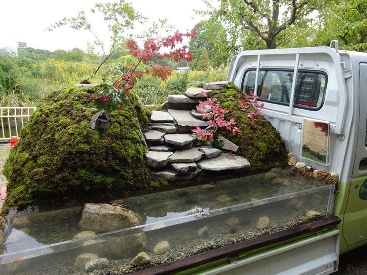 jardín, jardines, Japón, camionetas