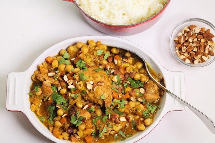 receta, pollo marroquí, olla fuego lento