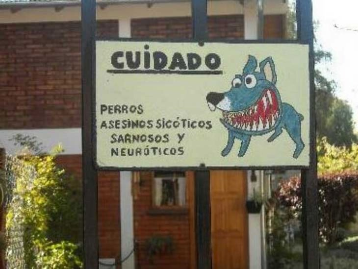"""17 carteles de """"Cuidado con el perro"""" con gran ingenio"""