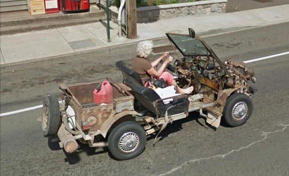 Autos peculaires Google Street View