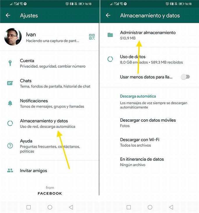 Usa la función 'Administrar almacenamiento' en WhatsApp