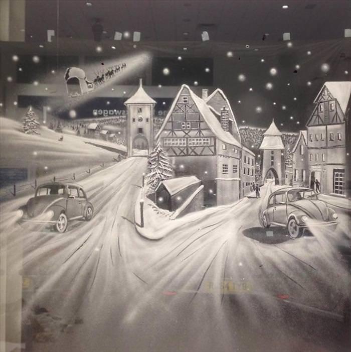 escenas de nieve en cristales