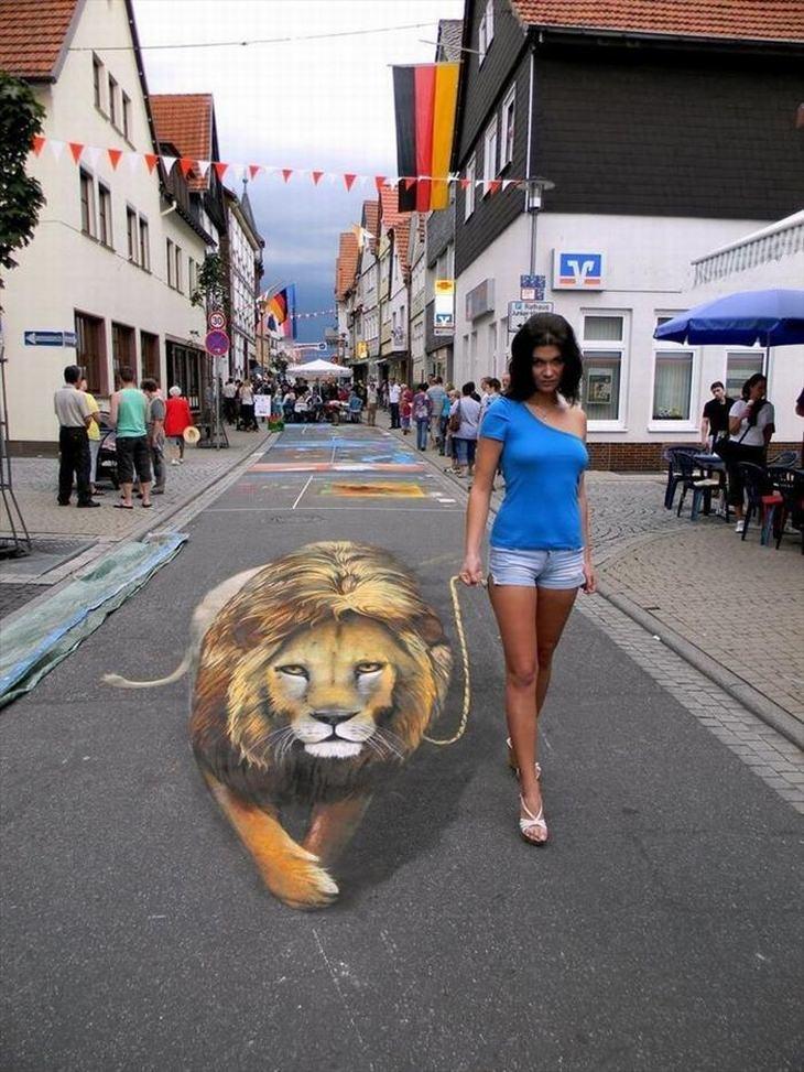 pinturas 3D en aceras artista ruso