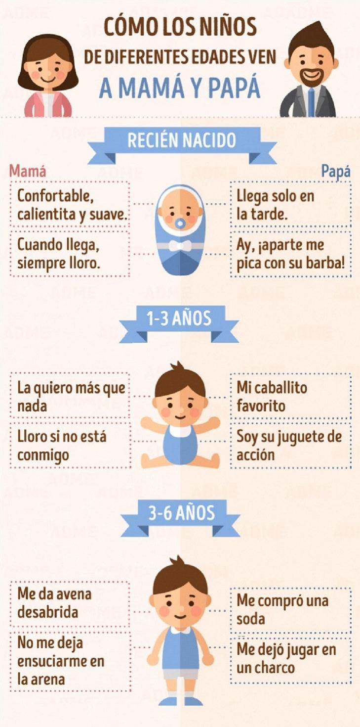 infografía como ven niños papa y mamá