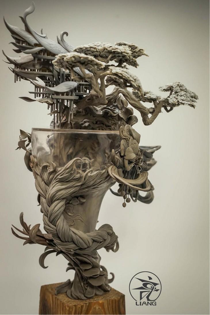 arcilla, arte, escultura, China