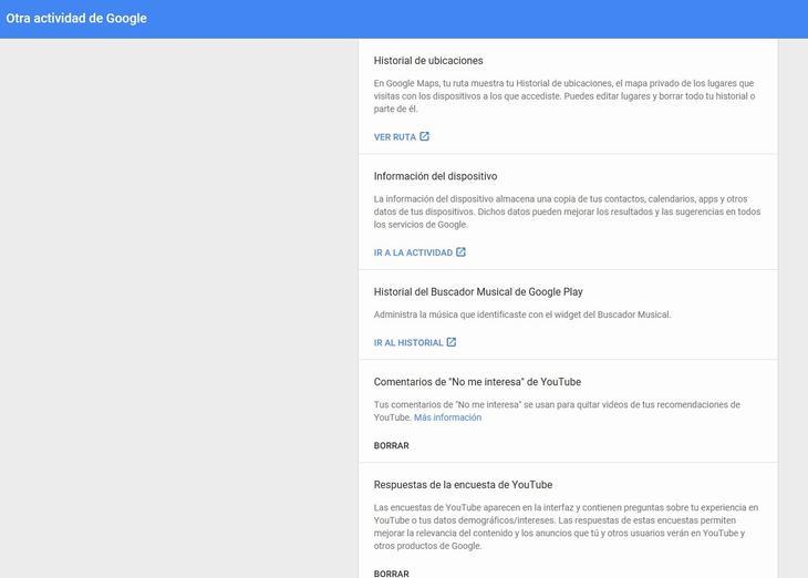 Google, My Activity, mi actividad, información