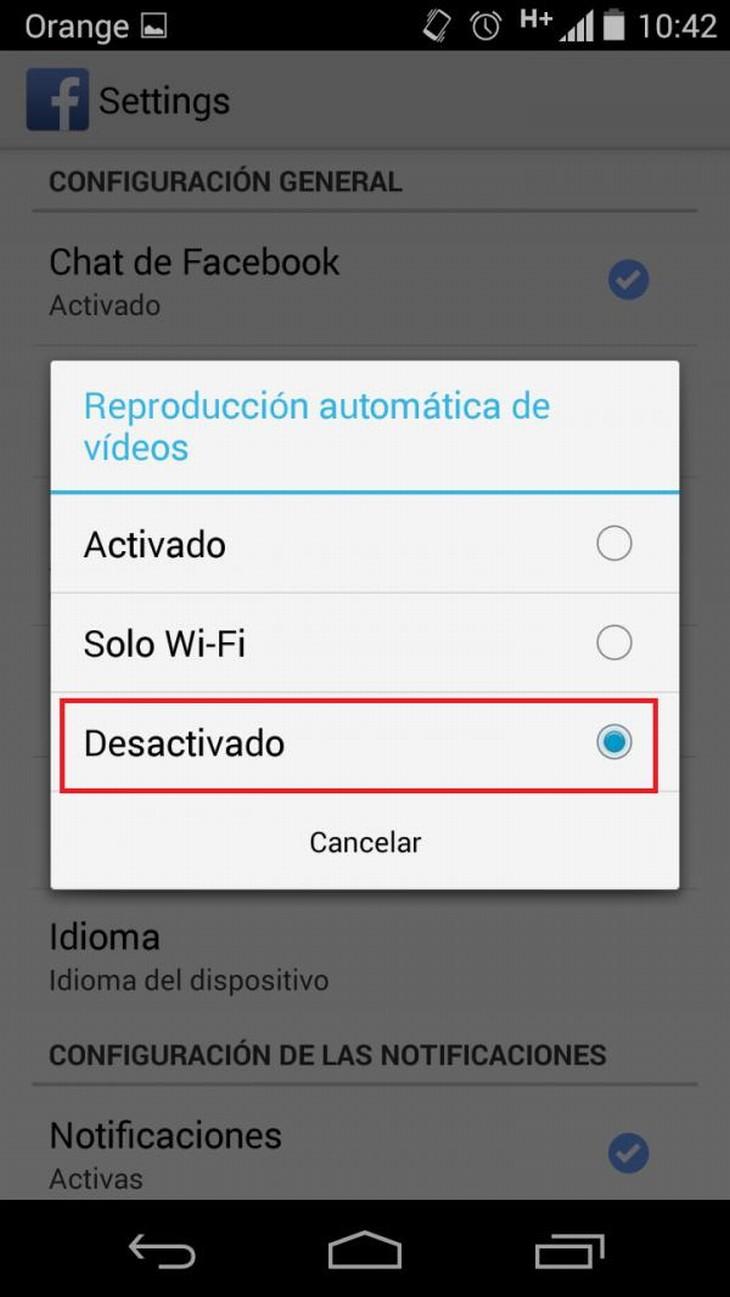 desactivar la reproducción automática de videos facebook