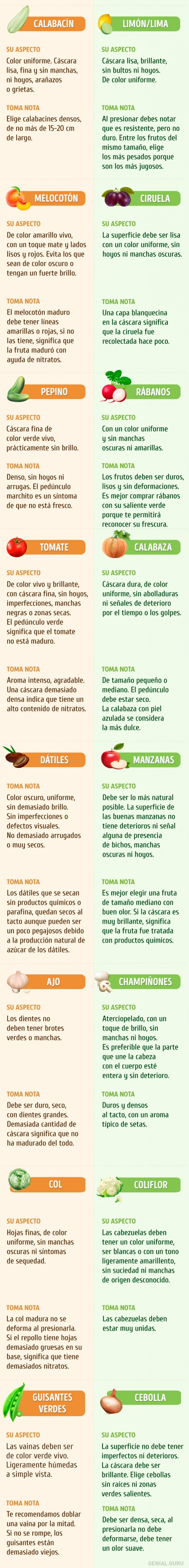 como elegir bien frutas y hortalizas