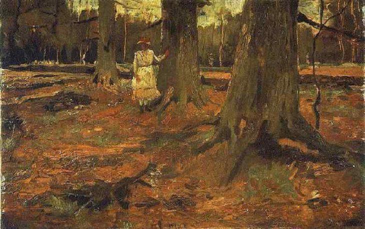 Chica de blanco en el bosque Van Gogh