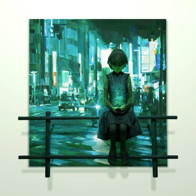 Shintaro Ohata Niña Escuchando Música Frente