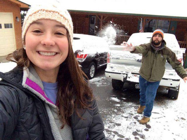 foto  bola de nieve captada en el momento justo