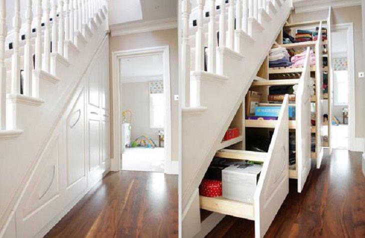 Ideas de diseño innovadoras increíbles, serie de cajones en el espacio debajo de una escalera