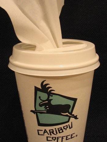 Taza de café para pañuelos desechables