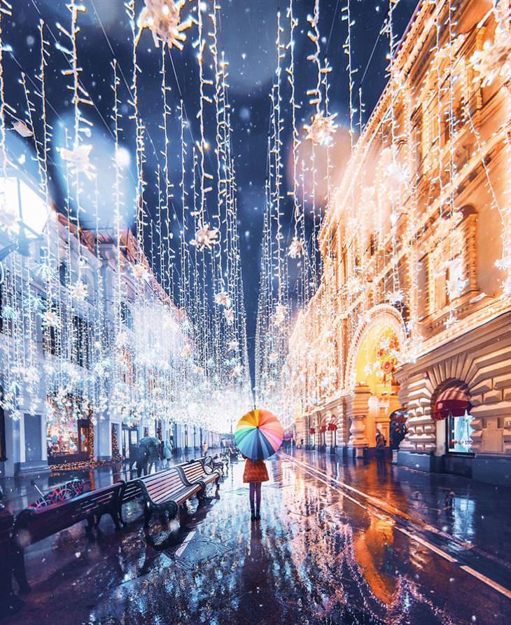 Moscú En Invierno Mujer con sombrilla en la calle