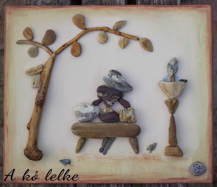 artista crea arte con piedras