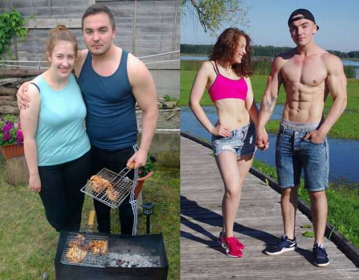 parejas pierden peso juntos pareja en el parque