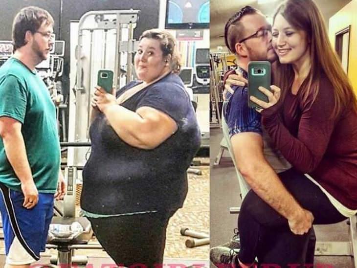 parejas pierden peso juntos pareja en el gimnasio