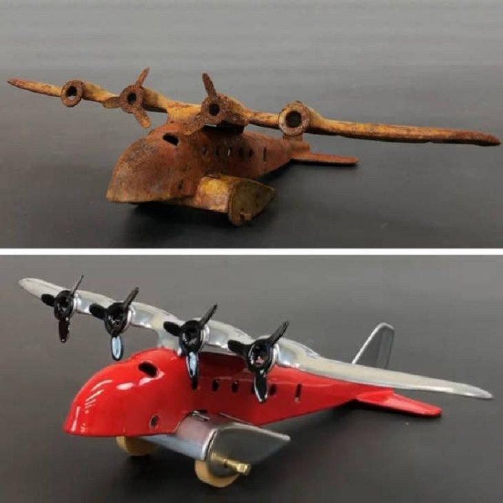 imágenes antes y después de la limpieza Restauración profesional de un modelo de avión