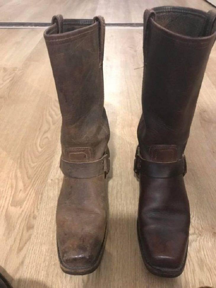 imágenes antes y después de la limpieza Una capa de esmalte puede hacer maravillas para una bota que nunca se había limpiado antes