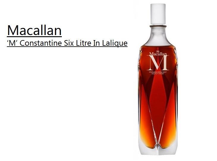 Los licores, licores y alcoholes más caros vendidos en todo el mundo, The Macallan lan M 'Constantine Six Liter In Lalique, $ 628,000