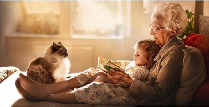 """Fotos vínculo entre abuelos y nietos """"En el séptimo día, Dios descansó. Sus nietos deben haber estado fuera de la ciudad"""". - Gene Perret"""