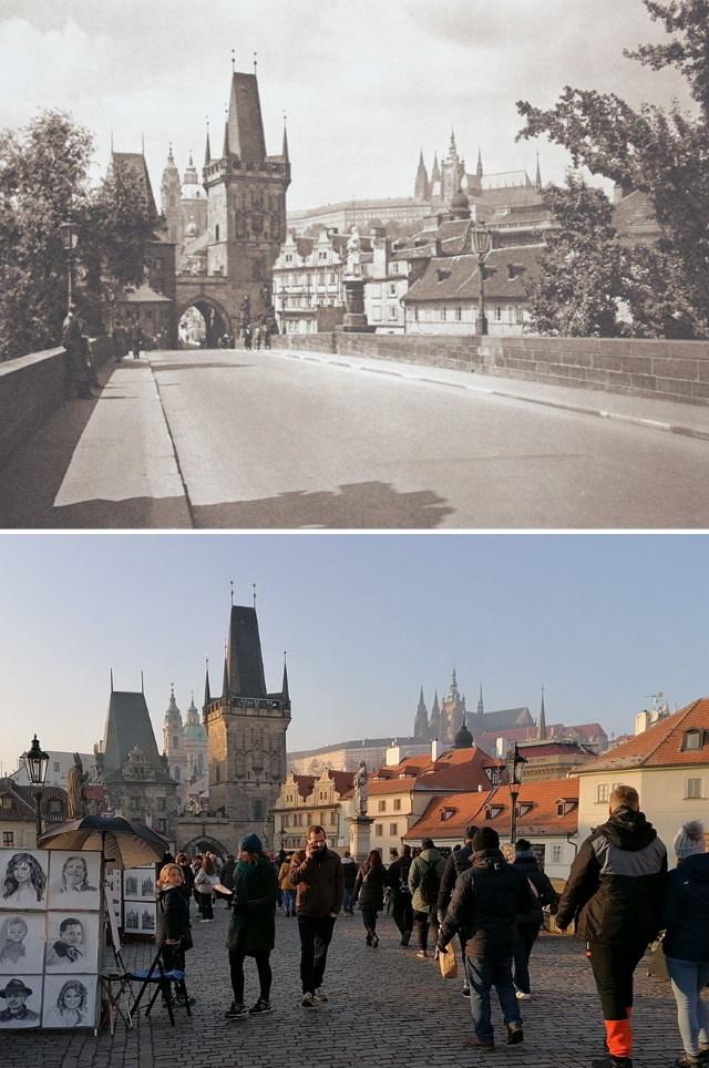 Antes y Ahora: Cómo Han Cambiado 15 Monumentos Europeos Puente Carlos, Praga, República Checa (1941 vs. 2020)