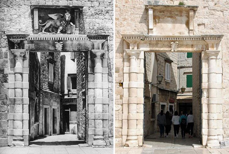 Antes y Ahora: Cómo Han Cambiado 15 Monumentos Europeos Puerta de la ciudad, Trogir, Croacia (1926 frente al 24 de abril de 2019)