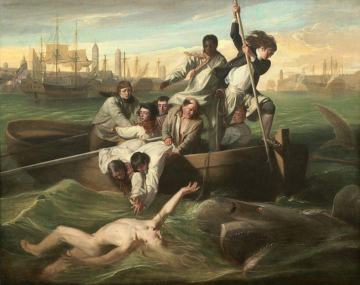 Pinturas marinas Watson y el tiburón