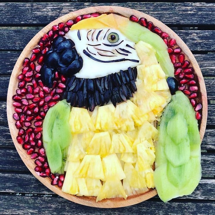 Asombrosas Obras De Arte Animal Elaboradas Solo Con Frutas loro