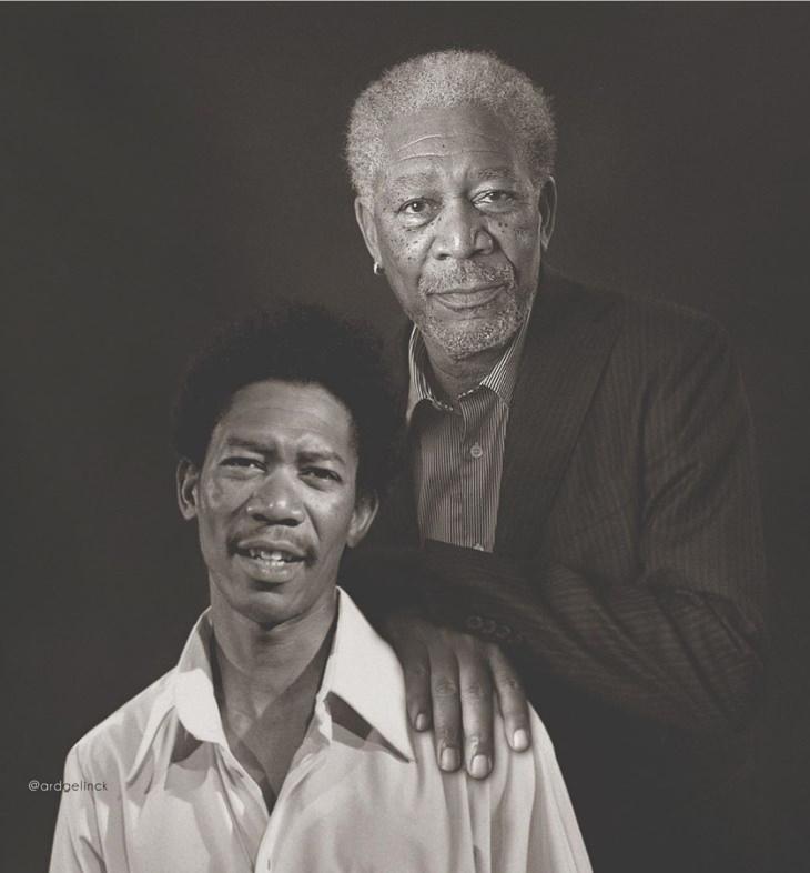 Las Celebridades Posan Con Sus Versiones De La Juventud Morgan Freeman