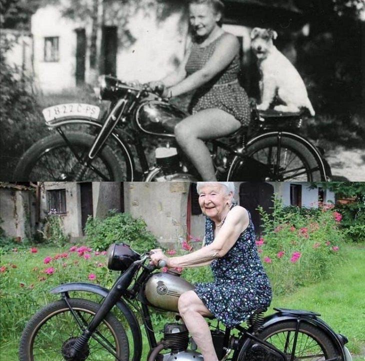2. La misma chica, la misma bicicleta y la misma sonrisa, con 71 años de diferencia