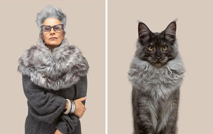 Gatos que se parecen a sus dueños Marielle y Jacques