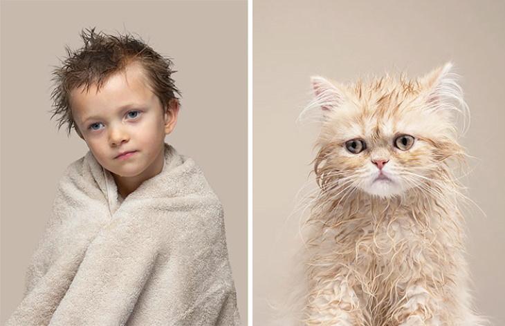 Gatos que se parecen a sus dueños  Arlo yButtercup (Persa)