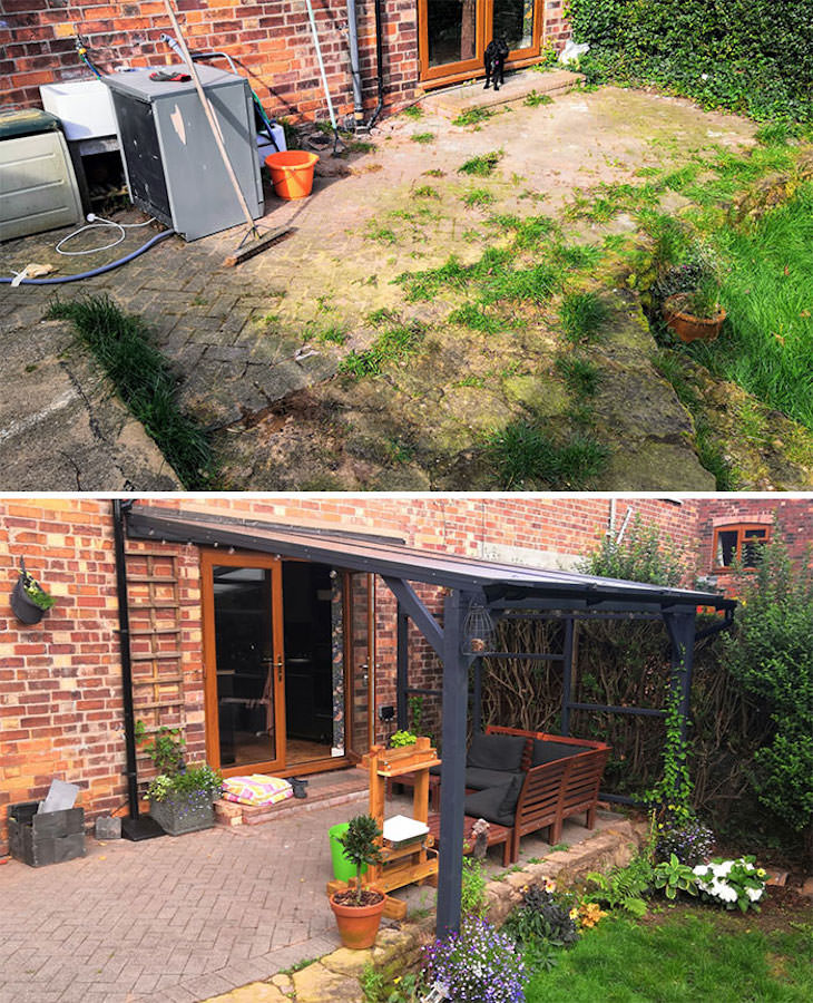 2. El mismo patio antes y después de un powerwash y una nueva pérgola