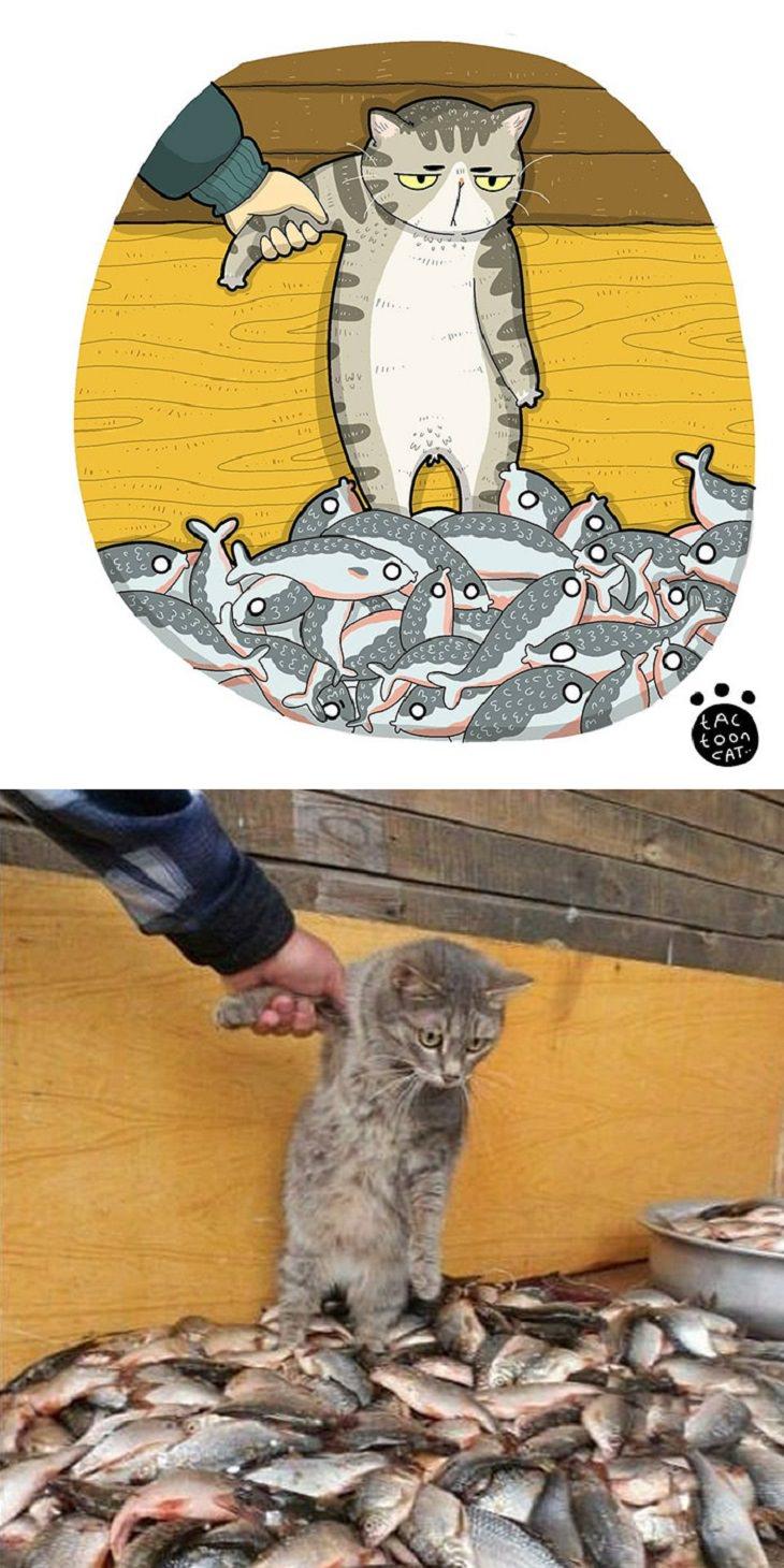 20 Divertidas Caricaturas De Los Felinos Favoritos Del Internet gato con pescados