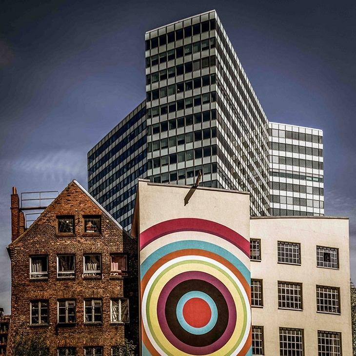 Belleza de los edificios una mezcla colorida