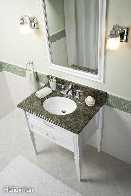 Mini cambio de imagen en el baño: mostradores de granito - $ 430