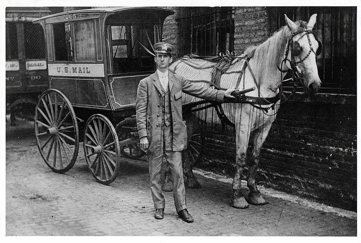 antiguos vehículos postales de EE.UU  Vagones tirados por caballos