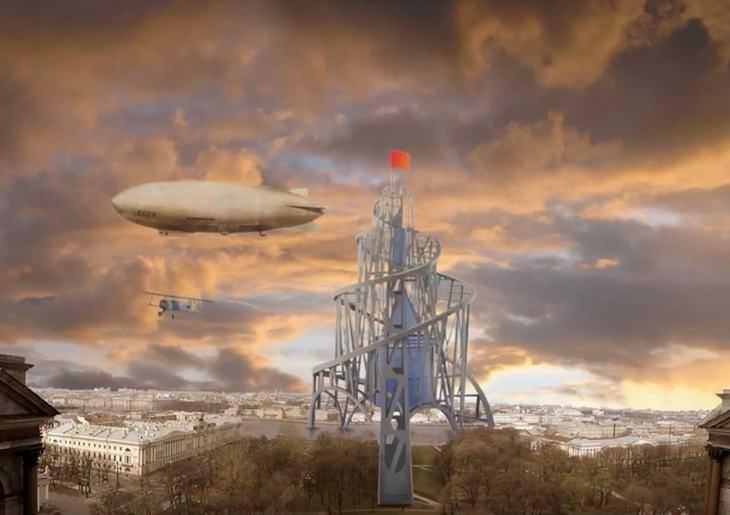 propuestas de edificios extravagantes La torre de Tatlin en San Petersburgo, Rusia