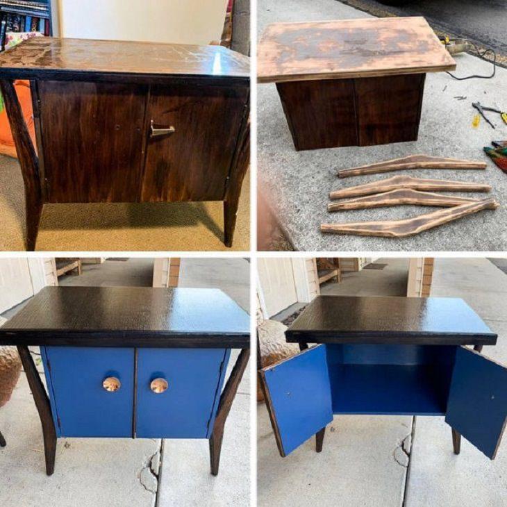 Objetos restaurados y quedaron como nuevos mesa restaurada